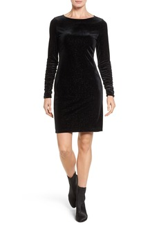 Vince Camuto Ruched Sleeve Sparkle Velvet Dress (Regular & Petite)