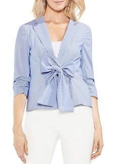 VINCE CAMUTO Ruched-Sleeve Striped Blazer