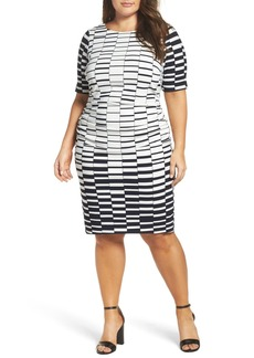 Vince Camuto Ruched Stretch Knit Sheath Dress (Plus Size)