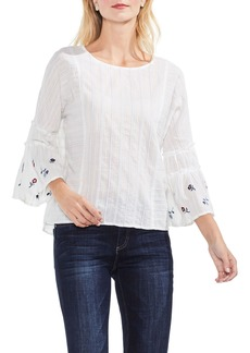 Vince Camuto Ruffle Bell Sleeve Stripe Embroidered Blouse (Regular & Petite)
