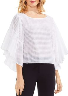 VINCE CAMUTO Ruffle Bell Sleeve Textured Grid Top