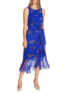 VINCE CAMUTO Ruffle Belted Floral Print Midi Dress