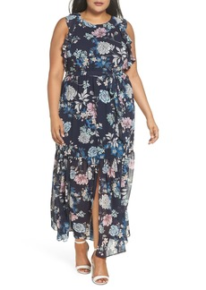 Vince Camuto Ruffle Chiffon Maxi Dress (Plus Size)