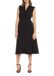 Vince Camuto Ruffle Detail Crepe A-Line Dress