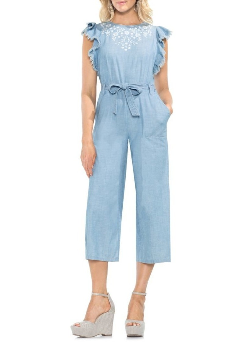 Vince Camuto Ruffle Embroidered Jumpsuit