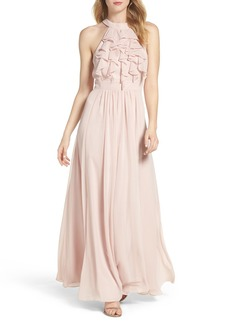 Vince Camuto Ruffle High Neck Gown
