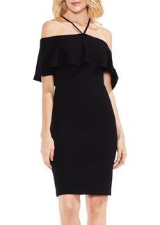 Vince Camuto Ruffle Off the Shoulder Halter Sweater Dress