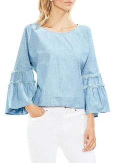 Vince Camuto Ruffle Sleeve Chambray Blouse
