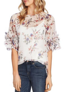 VINCE CAMUTO Ruffle Sleeve Floral Blouse