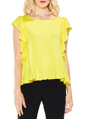 Vince Camuto Ruffle Sleeve Mix Media Top