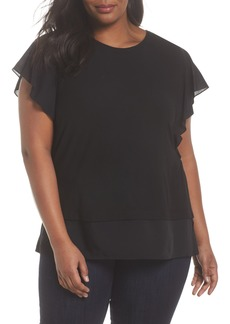 Vince Camuto Ruffle Sleeve Mix Media Top (Plus Size)