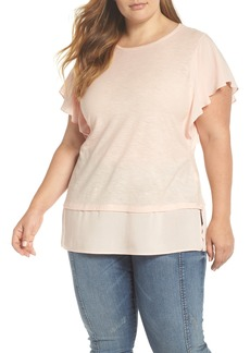 Vince Camuto Ruffle Sleeve Mixed Media Top (Plus Size)