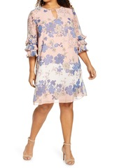 Vince Camuto Ruffle Sleeve Shift Dress (Plus Size)