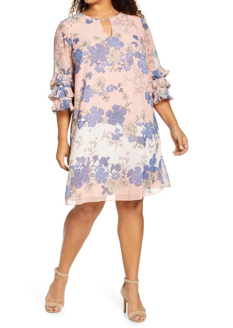 Vince Camuto Ruffle Sleeve Shift Dress (Plus Size)