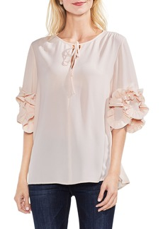 Vince Camuto Ruffle Sleeve Tie Neck Blouse
