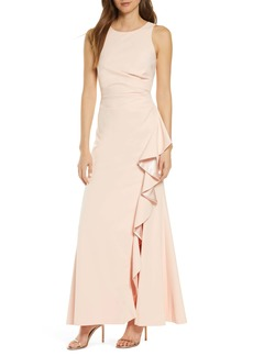 Vince Camuto Ruffle Slit Trumpet Gown