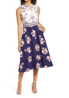 Vince Camuto Ruffle Trim Mixed Print Crepe Midi Dress