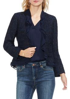 Vince Camuto Ruffle Trim Tweed Jacket (Regular & Petite)