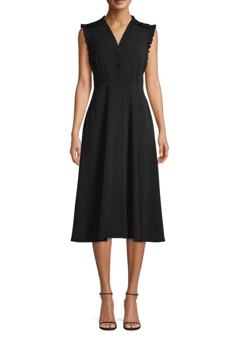 Vince Camuto Ruffle-Trimmed Midi A-Line Dress