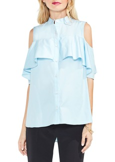Vince Camuto Ruffle Yoke Cold Shoulder Top (Regular & Petite)