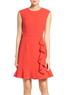 Vince Camuto Ruffled Crepe Flounce Hem Dress (Regular & Petite)