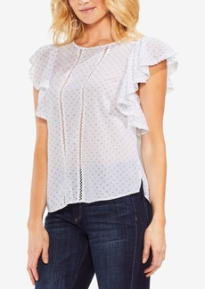 Vince Camuto Ruffled Crochet-Trim Top