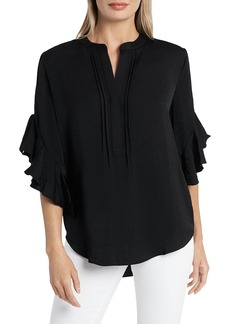 VINCE CAMUTO Ruffled Henley Blouse