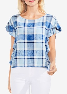 Vince Camuto Ruffled Plaid Top