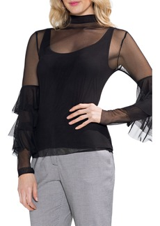 Vince Camuto Ruffled Stretch Mesh Top