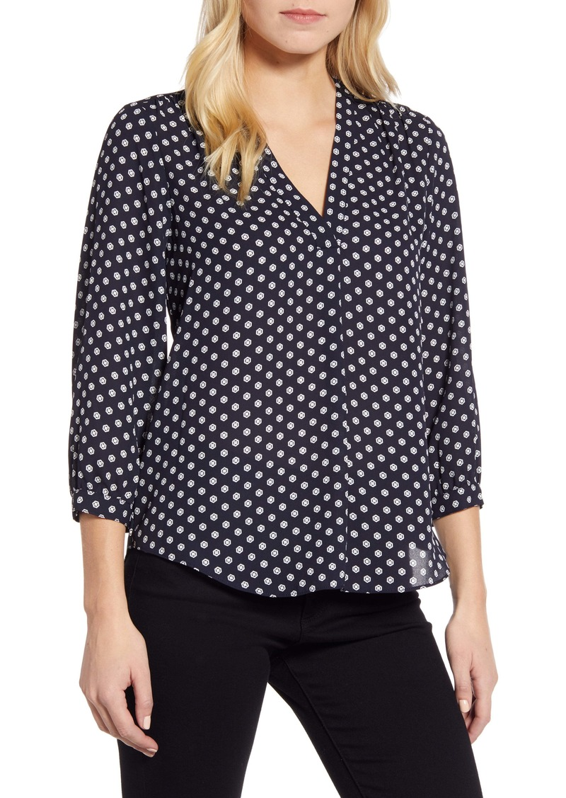 Vince Camuto Rumple Geo Dot Print Satin Blouse