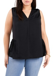 Vince Camuto Rumple Satin Sleeveless Peplum Top (Plus Size)