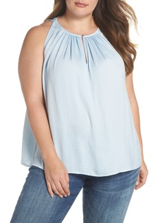 Vince Camuto Rumpled Satin Keyhole Top (Plus Size)