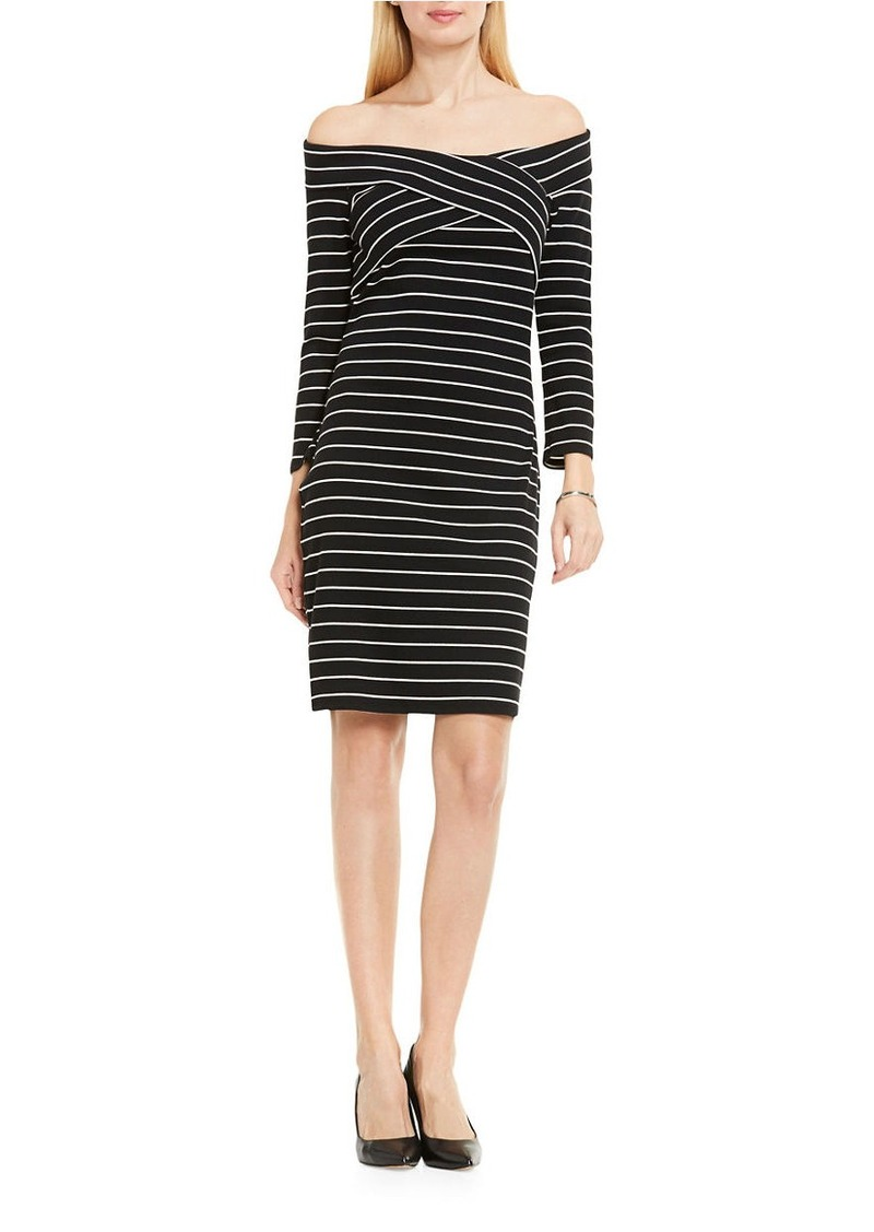 VINCE CAMUTO Sail Mini Stripe Off-the-Shoulder Dress
