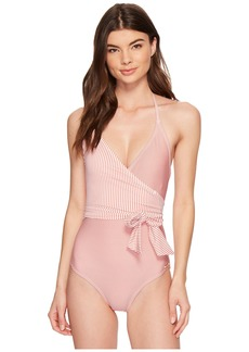 Vince Camuto Sailor Stripe V-Neck Wrap Tie One-Piece Swimsuit w/ Removable Soft Cups