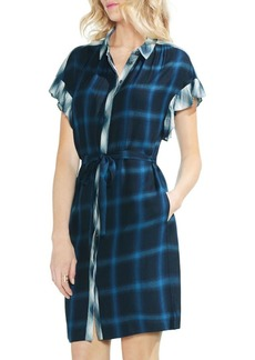 Vince Camuto Sapphire Bloom Plaid Tartan Shirtdress