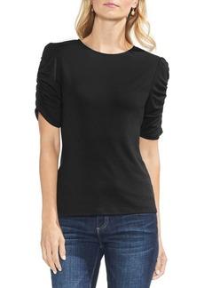 Vince Camuto Sapphire Bloom Ruched Short-Sleeve Top