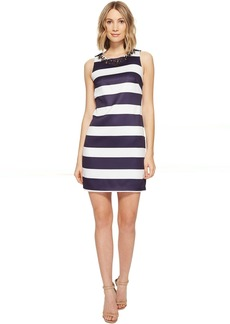 Vince Camuto Satin Shift Dress with Beaded Neckline