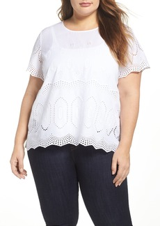Vince Camuto Scallop Eyelet Blouse (Plus Size)
