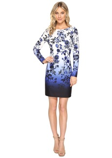 Vince Camuto Scuba Crepe T-Body Dress with Long Sleeves