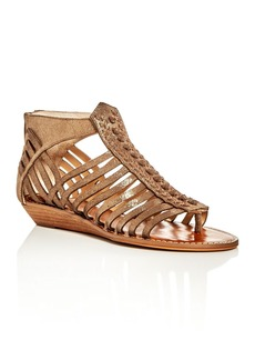 VINCE CAMUTO Seanna Metallic Woven Strappy Demi Wedge Sandals