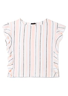 Vince Camuto Seashore Stripe Flutter Sleeve Linen Blouse