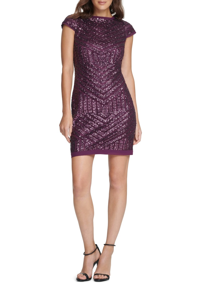 Vince Camuto Sequin Cap Sleeve Shift Cocktail Dress