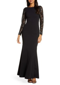 Vince Camuto Sequin Detail Long Sleeve Mermaid Evening Gown