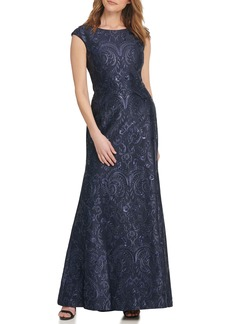 Vince Camuto Sequin Embroidered Trumpet Gown