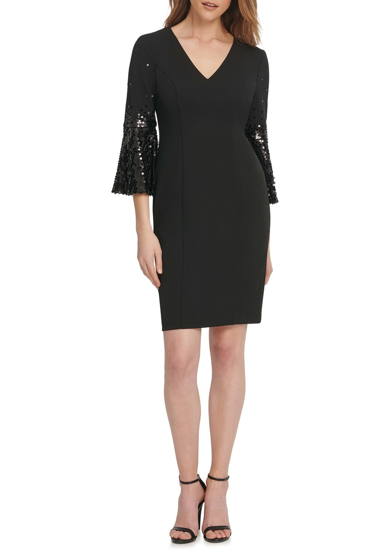 Vince Camuto Sequin Flare Sleeve Cocktail Dress