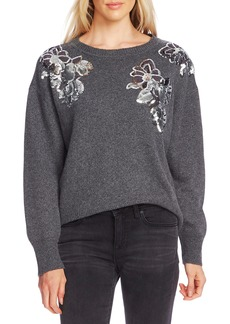 Vince Camuto Sequin Floral Cotton Blend Sweater