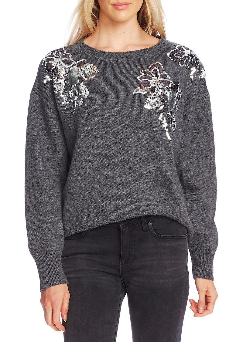 Vince Camuto Sequin Floral Cotton Blend Sweater
