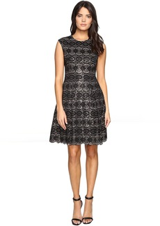 Vince Camuto Sequin Lace Cap Sleeve Fit and Flare Dress