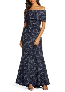 Vince Camuto Sequin Lace Off the Shoulder Gown