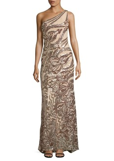 Vince Camuto Sequin Lace One Shoulder Gown